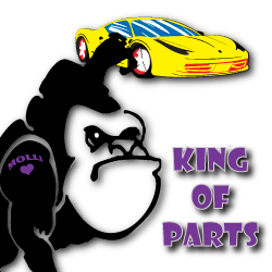 King of Parts gorilla with yellow sports car